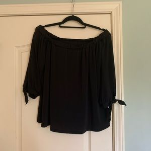 Black Off the Shoulder Top with tie sleeves